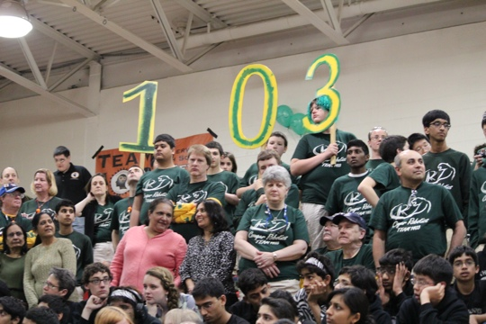 Team 1403 uses its numbers to support team 103.